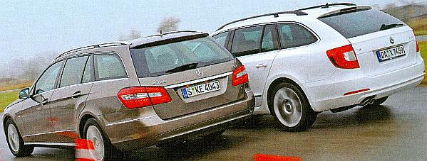 Mercedes E class T model and Skoda